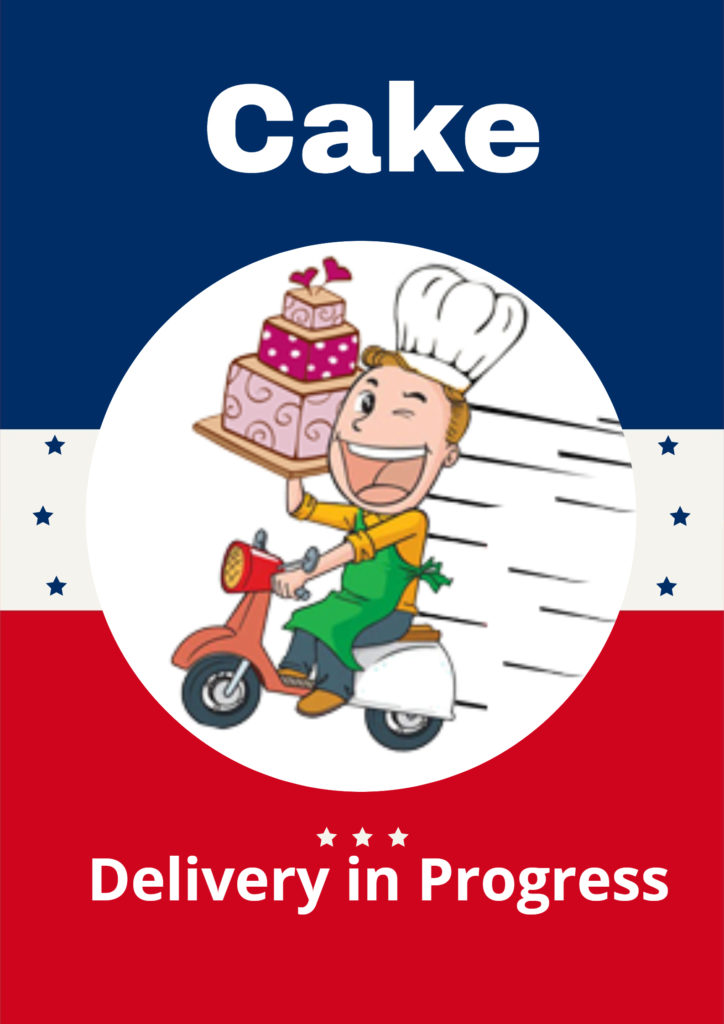 A Cartoon characters woman carrying cake in hand on scooter