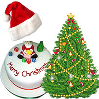 Send Christmas Tree (1.5 feet) with 500 gm Christmas Cap, Christmas Cake in Mumbai