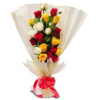 Flowers Delivery in Panvel.Send Mix Roses Bouquet in Crepe Wrap 12 Flowers