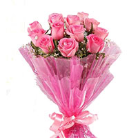 Send Online Pink Roses Bouquet 12 Flowers to Colaba Mumbai