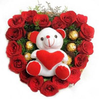 Send 18 Red Roses 5 Ferrero Rocher Teddy Heart. Send Gifts to Mumbai