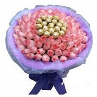 Gift Delivery in Mumbai. 50 Pink Roses 16 Pcs Ferrero Rocher Bouquet