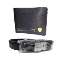Gift to Mumbai contain Gents Farrari Wallet With U S polo Belt on Rakhi