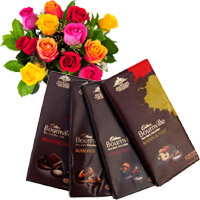 Online Delivery of 4 Cadbury Bournville Chocolates with 12 Mix Roses Bunch. Place order to send Flowers to Mumbai