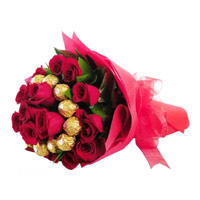 Send Online 16 pcs Ferrero Rocher 24 Red Roses Bouquet to Mumbai