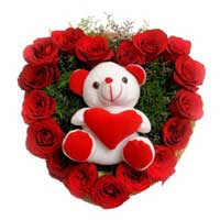 Send 17 Red Roses N 6 Inch Teddy Heart, Gifts Online to Mumbai