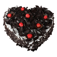 Place order to send 2 Kg Heart Shape Black Forest Cake to Mumbai