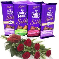 Send 4 Cadbury Dairy Milk Silk Chocolates With 6 Red Roses Flowers to Mumbai