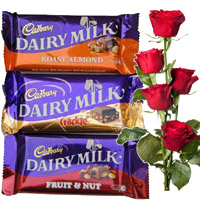 Online Gifts Delivery in Mumbai. Send 4 Dairy Milk Silk Chocolates With 5 Red Roses