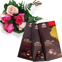 Send 3 Bournville Chocolates With 6 Red Pink Roses Flowers to Barc Mumbai
