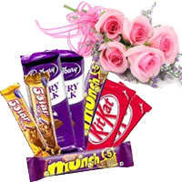 Send Twin Five Star, Dairy Milk, Munch, Kitkat Chocolates with 5 Pink Rose Flowers to Mumbai
