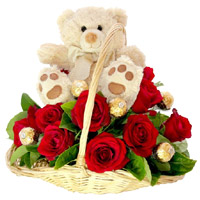 Gifts in Mumbai including 12 Red Roses with 10 Ferrero Rocher and 9 Inch Teddy Basket