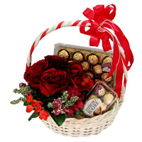 Gift Delivery. Send 12 Red Roses, 40 Pcs Ferrero Rocher Basket Mumbai