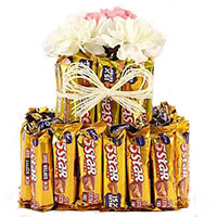 Gift Delivery in Mumbai. Send 16 Pcs Ferrero Rocher with 16 White Roses Bouquet