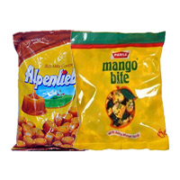 Send Rakhi Gift in Mumbai to Deliver 2 Pack of Alpenliebe and Mango Bite Toffee on Rakhi