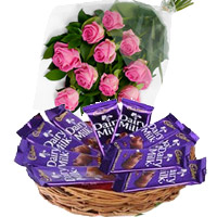 Send Dairy Milk Basket 12 Chocolates With 12 Pink Roses to Mumbai
