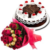 Send 16 pcs Ferrero Rocher 30 Red Roses Bouquet 1/2 Kg Black Forest Cake to Mumbai