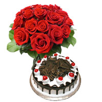 Send Online 1/2 Kg Black Forest Cake 12 Red Roses Bouquet flowers to Raj Bhawan Mumbai
