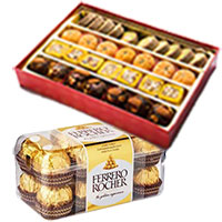 Send Friendship Gifts Online, 1 Kg Assorted Mithai with 16 pcs Ferrero Rocher to Mumbai