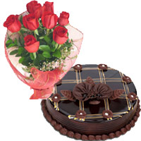 Place order to send 1 Kg Chocolate Cake 12 Red Roses Bouquet Ichalkaranji