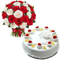 Mix Roses and Pineapple Cakes to Mumbai