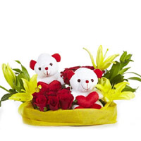Online Gift in Mumbai including 2 Yellow Lily 12 Red Roses 2 Small Teddy Basket