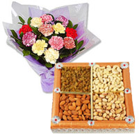 Deliver 12 Mixed Carnation With 1/2 Kg Dry Fruits to Mumbai