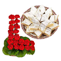 Send 24 Red Carnation Basket, 1/2 Kg Kaju Burfi in Mumbai for Friendship Day
