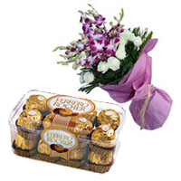 Send 8 Orchids 12 White Rose Bouquet 16 Pcs Ferrero Rocher Mumbai