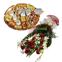 Deliver 6 White Orchids 12 Red Roses Bunch 1 Kg Assorted Kaju Sweets and Gifts to Mumbai