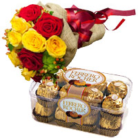 Order Online 12 Red Yellow Roses Bunch 16 Pcs Ferrero Rocher Mumbai