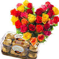 Send 30 Mix Roses Heart 16 Pcs Ferrero Rocher Online Mumbai