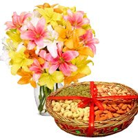 Send 10 Mix Lily Vase, 1 Kg Mix Dry Fruits to Ichalkaranji