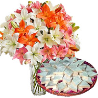 Send Gift for a Friend, 18 Pink White Lily Vase, 1/2 Kg Kaju Katli for Friendship Day