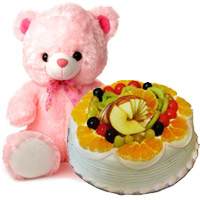 12 Inch Teddy 1 Kg Eggless Fruit Cake 5 Star Bakery, Send Gifts to Mumbai