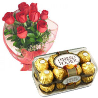 Order 12 Red Roses and 16 pieces Ferrero Rocher Mumbai Online