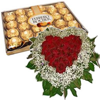 Send 50 Red Roses White Daisies Heart with 24 pcs Ferrero Rocher Chocolate to Mumbai