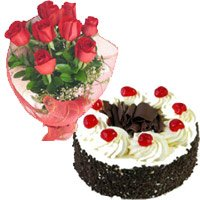 Buy Online 1 Kg Black Forest Cake to Mumbai and 12 Red Roses Bouquet Mumbai