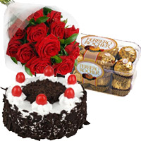 Birthday Gifts Delivery to Mumbai Barc. 12 Red Roses 1 Kg Cake and 16 pcs Ferrero Rocher Chocolates and Gifts to Mumbai