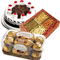 Send 1/2 Kg Black Forest Cake, 1/2 Kg Dry Fruits and 16 pcs Ferrero Rochers Chocolate to Mumbai