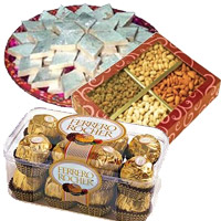 Online Gift of 1 Kg Dry Fruits with 1/2 Kg Kaju Katli and 16 Pcs Ferrero Rocher, Gifts to Mumbai