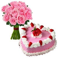 Send Anniversary Gifts to Panvel. Send 1 Kg Strawberry Cake 12 Pink Roses Bouquet Delivery to Panvel