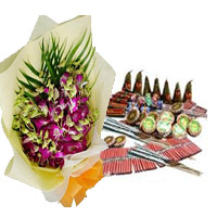 Send Diwali Gifts to Mumbai including 5 Orchids with Assorted Crackers.