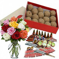 Deliver Diwali Gifts to Mumbai that include 500gm Atta Laddoos and 12 Mix Roses in Glass Vase with Assorted Crackers worth Rs 1800.
