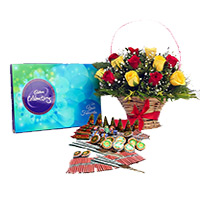 Place Order for Diwali Gifts to Navi Mumbai along with 1 Celebration Pack and 18 Red Yeloow Mix Flowers Basket with Assorted Crackers worth Rs 1200.