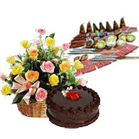 Send Diwali Gifts with Crackers to Mumbai conatins 500gm Chocolate Cakes and 20 Mix Roses Basket with Assorted Crackers worth Rs 1200