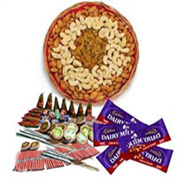 1 Kg Assorted Dry Fruits and 5 Dairy Milk with Assorted Crackers worth Rs 600. Online Diwali Gifts to Delivery at Midnight