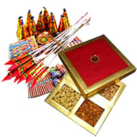 Deliver Diwali Gifts in Mumbai consist of 500gm Dry Fruits Box with Assorted Crackers worth Rs 1000