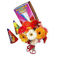 Place Order for Diwali Gifts to Mumbai that include 12 Mix Gerbera Bunch with 2 Box Flower Pot(Anaar)