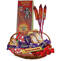Diwali Gifts in Mumbai as well as Basket of Assorted Chocolates and 10 Red Roses with 1 Box Rocket contain 10pcs.